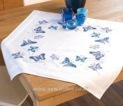 Cross stitch Tablecloth kit - Blue Butterflies flowers