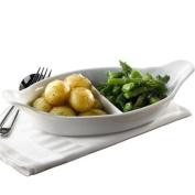 Royal Genware 2 Division Vegetable Dish 32cm | Porcelain Dishes, White Dishes, Veg Dishes, Side Dishes - Oven to Tableware