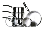 Premier Housewares Tenzo Cookware Set with Silica Handles, 5-Piece, Stainless Steel