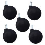 """Set of 5 Large Heavy Duty Office Chair Casters 3"""" (75mm) Softech Twin Wheel - Hardwood Floor Safe Wheels"""