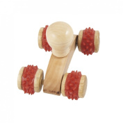Wooden 4 Wheels Tri Colours Manual Back Body Massage Roller