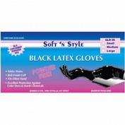 Soft N Style Medium Black Latex Powder Free Glove