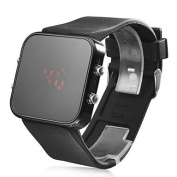 Unisex Jumbo Silicone Band Sports Square Mirror LED Wrist Watch - Black