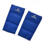 Pair Sports Protecting Ribbed Blue Elastic Shin Splint Calf Support Sleeve
