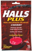 Halls Plus Cough Suppressant/Oral Anaesthetic, Menthol, Cherry, 25 ct.