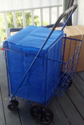 Shopping Cart with Double Basket and Liner with top cover Jumbo size Strong Frame swivel wheels holds 150 lbs Blue colour By Perfectbuyz