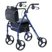 Hugo Rolling Walker Elite Blue Adjustable Walker with Seat, Backrest, and Saddle Bag
