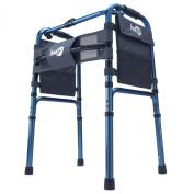 Hugo Mobility 770-260 Adjustable Folding Walker with Bonus Wheels and Plastic Glides, Sapphire Blue, 13cm
