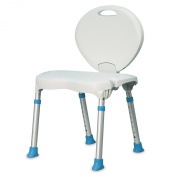 AquaSense Folding Bath and Shower Chair with Non-Slip Seat and Backrest, White