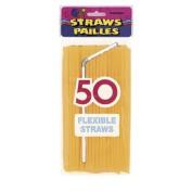 Flexible Plastic Drinking Straws   50ct