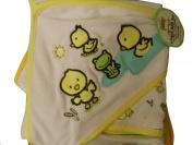 Duck & Frog Hooded Towel & Washcloths Baby Bath Set ~ Green & Yellow