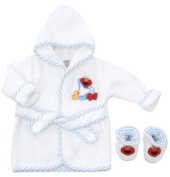 Elmo Baby Robe and Bootie Set ~ White ~ 0-9 Months