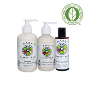 Baby Mantra Shampoo and Wash, Calming Lotion and Massage Oil Combo
