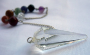 Multifaceted Clear Quartz Crystal Pendulum with Chakra Chain