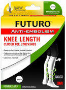 FUTURO Anti-Embolism Stockings, Knee Length, Closed Toe, White, X Large/Regular