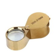 Golden 30X 21mm Jewellery Magnifying Glass Loupe Magnifier
