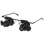 Rosallini Glasses Type White 2 LED Light 20X Magnifying Glass Magnifier Black