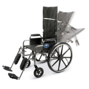 Excel Reclining Wheelchair, 41cm Reclining Wheelchair with Elevating, Swing-Away Footrests w/Anti-Tippers 250 lb. capacity
