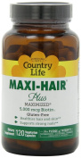 Country Life, Gluten Free, Maxi Hair Plus 5,000 mcg Biotin, 120 Veggie Caps