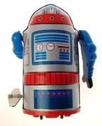 Collectors Mr Atomic small sized clockwork robot silver colour body