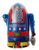 Collectors Mr Atomic small sized clockwork robot blue colour body