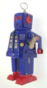 Collectors blue tin clockwork walking robot with sparking eyes and mouth