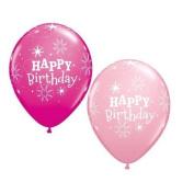 Happy Birthday Sparkle Pink & Wild Berry Pink Qualatex 28cm Latex Balloons x 5