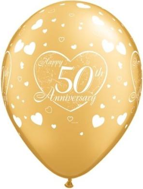 Happy 50th Wedding Anniversary Golden 28cm Latex Balloons x 25