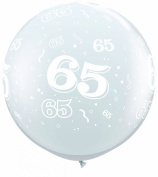 Age 65/65th Birthday Diamond Clear 0.9m Giant Qualatex Latex Balloons x 2