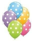 Cool Qualitex 12 Polka Dot Balloons Bright Festive Colours Party Blue Green Pink And Lavender Toy / Game / Play / Child / Kid