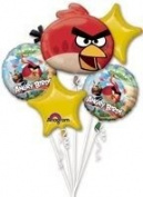 Amscan Angry Birds Party Supplies Mylar Foil Metal Balloon Boquet With 5 Coordinating Ribbons Toy / Game / Play / Child / Kid