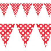 Flag Banner 12'-Ruby Red Decorative Dots