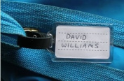 Luggage Tag / School Bag Tag , Plastic with Leather Strap and Buckle , Insert Card Included