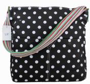 Exoticglitter Designer Black Polka Dots Spot Canvas Large Saddle Rainbow Straps Crossbody School Ladies Shoulder Messenger Bag