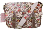 MISS LULU RETRO VINTAGE OWL LEAVES BUTTERFLY OILCLOTH OR CANVAS LADIES CROSS BODY SATCHEL MESSENGER SHOULDER SCHOOL HAND BAG