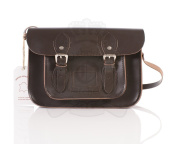 28cm Chocolate Brown Real Leather Oxbridge Satchel - Classic Retro Fashion laptop / school bag