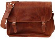 Satchel (L) Vintage Leather Satchel Shoulder Bag (A4) Dark Brown Unisex Computer bag School satchelPAUL MARIUS Vintage & retro