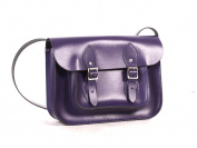 28cm Purple Real Leather Satchel - Classic Retro Fashion laptop / school bag