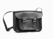 28cm Charcoal Black Real Leather Satchel - Classic Retro Fashion laptop / school bag