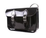 28cm Patent Black Real Leather Satchel - Classic Retro Fashion laptop / school bag