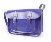28cm Patent Purple Real Leather Satchel - Classic Retro Fashion laptop / school bag