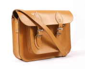 28cm Tan Real Leather Satchel - Classic Retro Fashion laptop / school bag