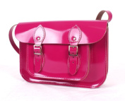 28cm Patent Fuchsia Real Leather Satchel - Classic Retro Fashion laptop / school bag