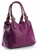 Big Handbag Shop Womens Medium Size Plain Multi Pocket Shoulder Bag with a Long Strap