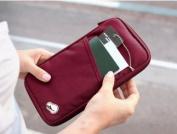 WMA Red Travel Wallet With Closure Zip Document Organiser Passport Ticket Holder