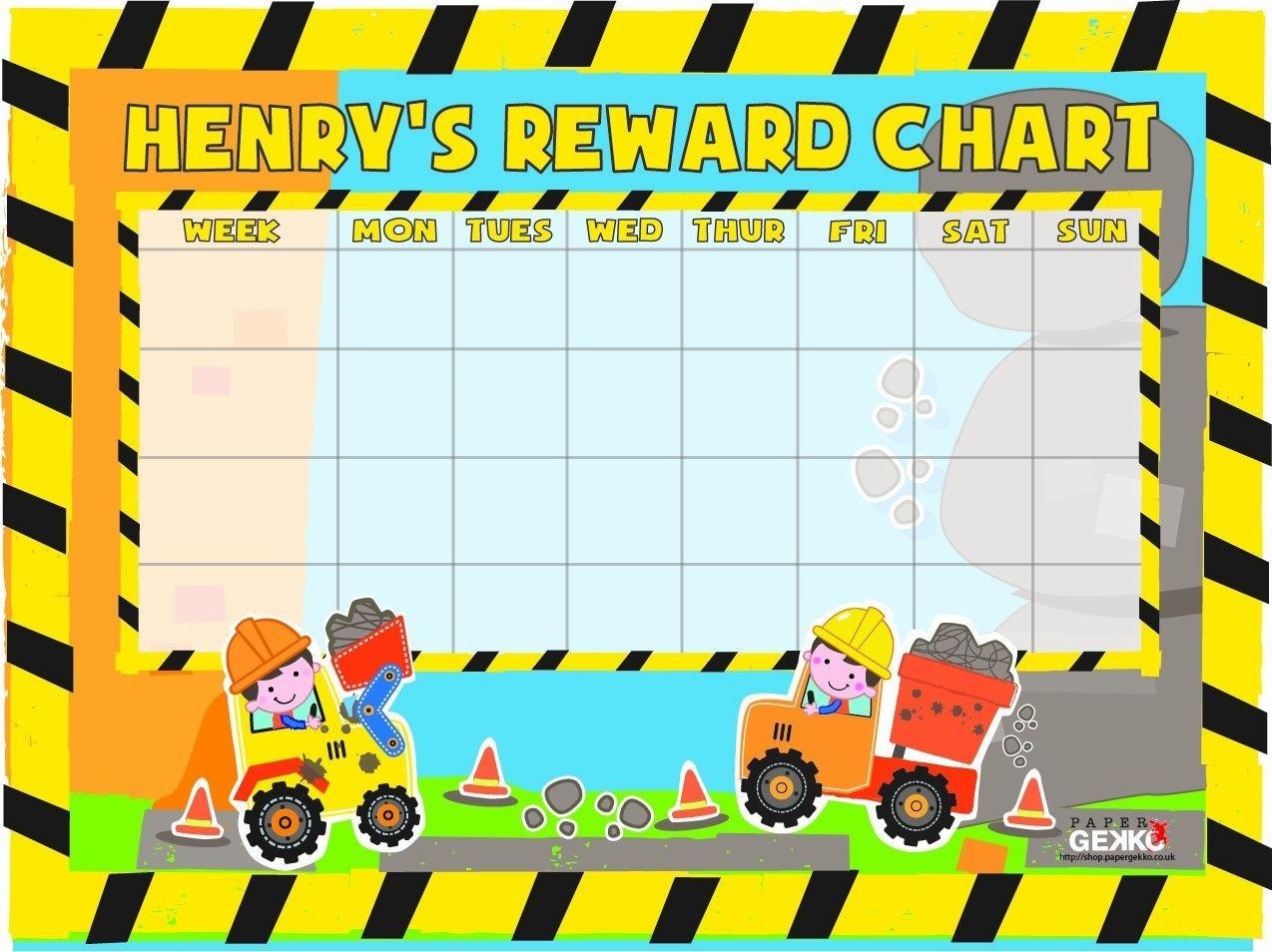 Personalised Reward Chart Wipe Clean/Reusable Digger