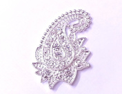 5 x 32mm Stick On Diamante Paisley Swirl Wedding Crystal Toppers Brooch