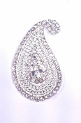 10 x 40mm Stick On Diamante Paisley Swirl Wedding Crystal Toppers Brooch
