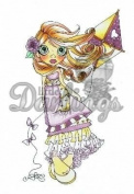Saturated Canary Unmounted Rubber Stamp 10cm x 6.4cm -Windy Day