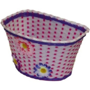 PEDALPRO FLOWERY WHITE/PINK/PURPLE PLASTIC GIRLS CHILD BIKE/BICYCLE BASKET WITH FIXING STRAPS